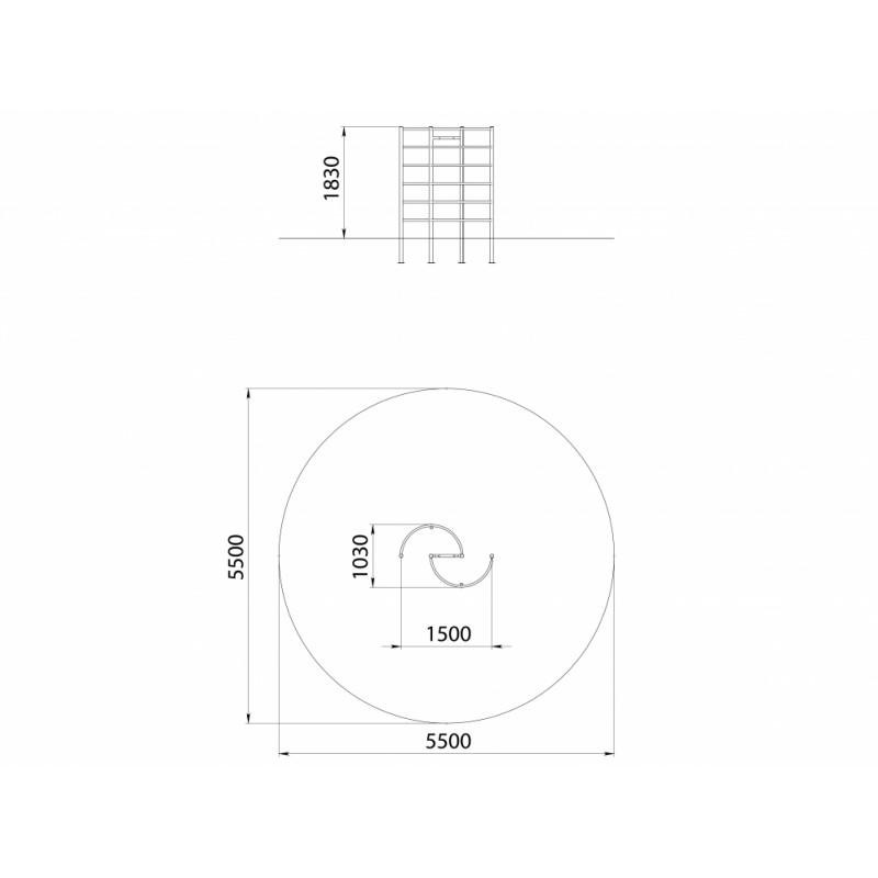 СО 1.25 Спортивный комплекс Шведская стенка радиусная
