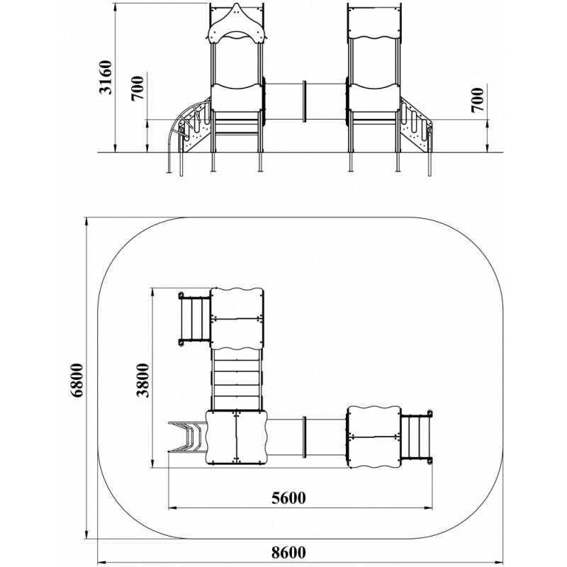 ДИК 3.08-К15 Детский игровой комплекс Атракцион Н=700