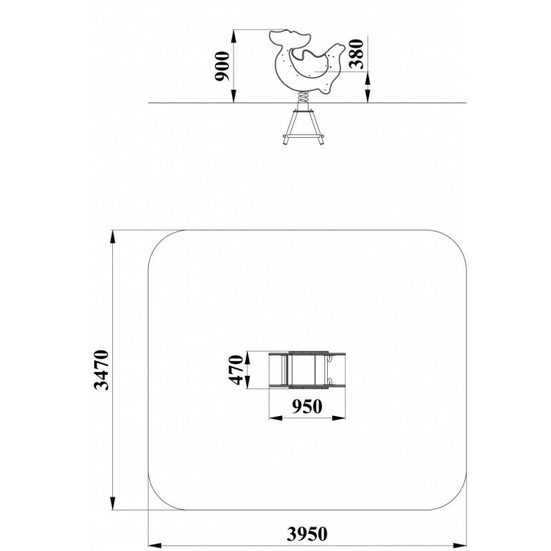 ДИО 4.141 Качалка на пружине Дельфин граффити