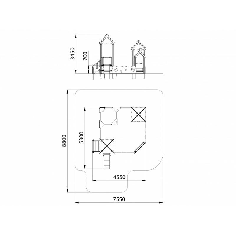 МФ 3.22 Песочный дворик Опушка с горкой