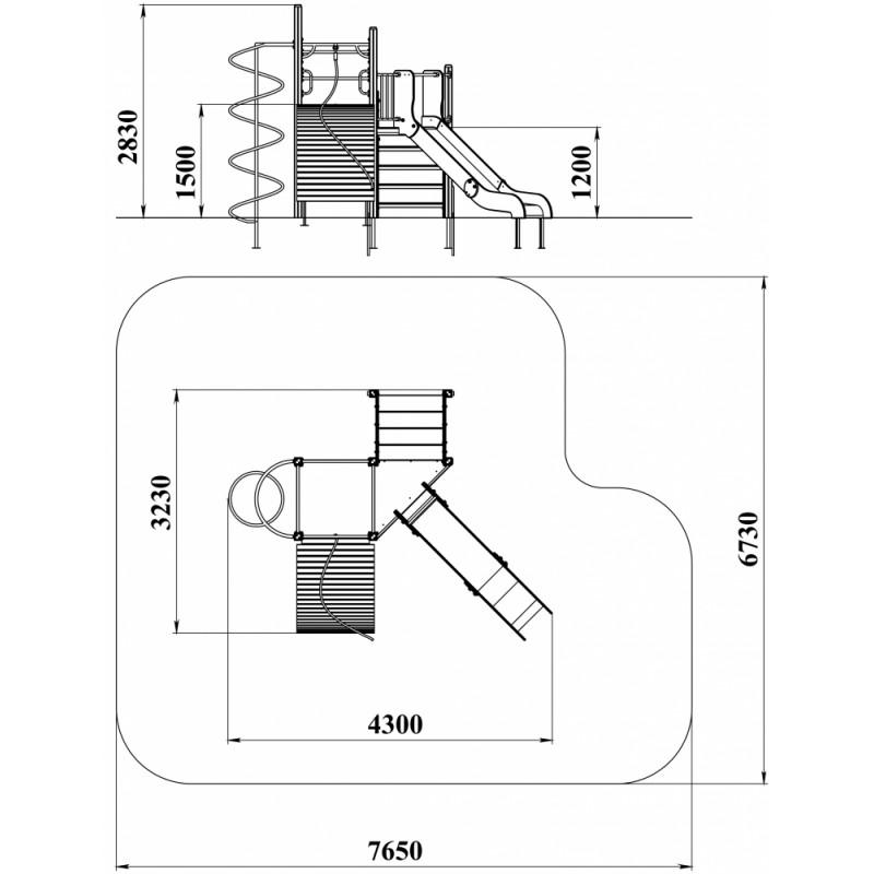 ДИК 2.171-16 Детский игровой комплекс Угловой Трап Н=1200