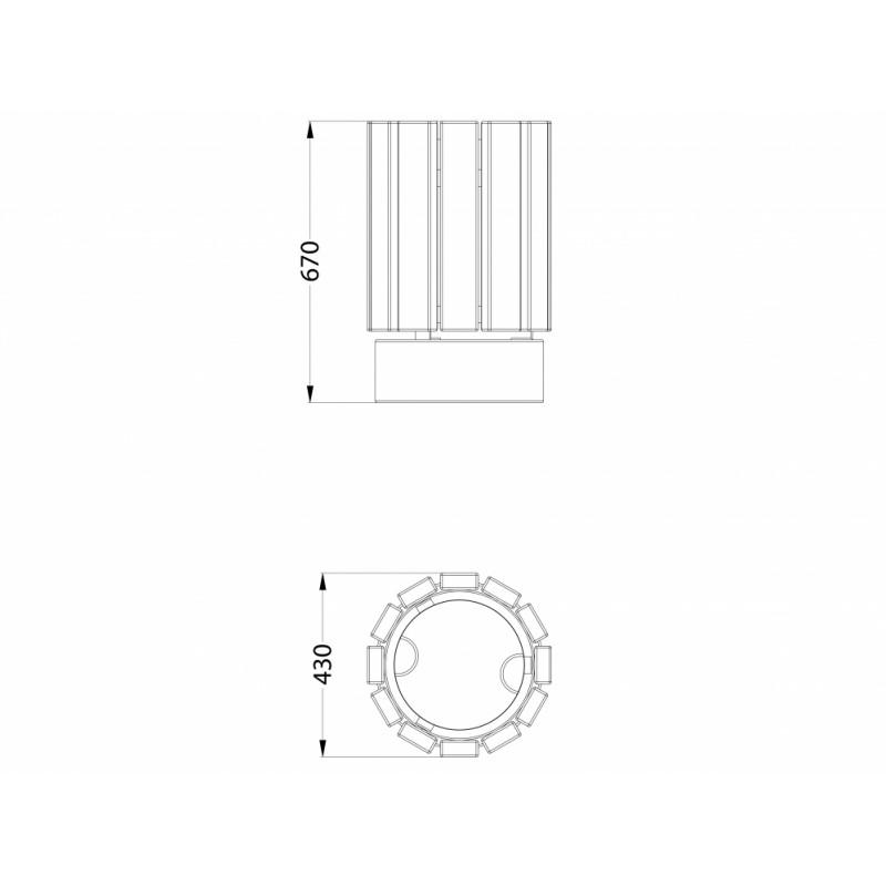 МФ 6.063 Урна круглая деревянная ДПС на ж/б основании