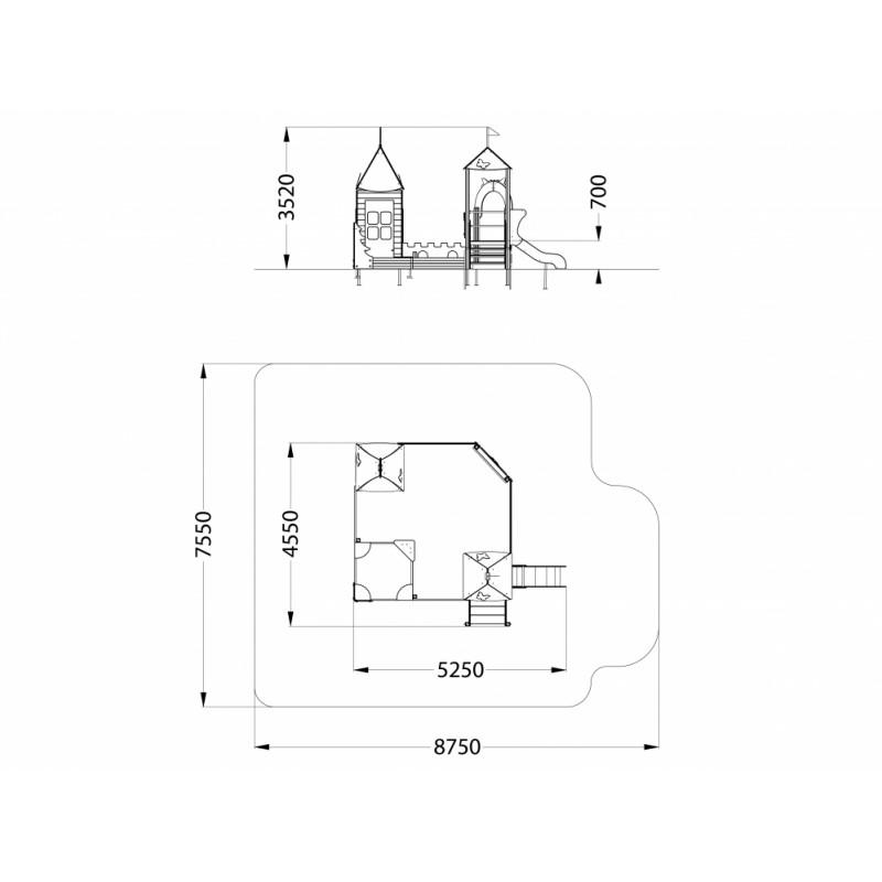 МФ 3.26 Песочный дворик Белоснежка с горкой