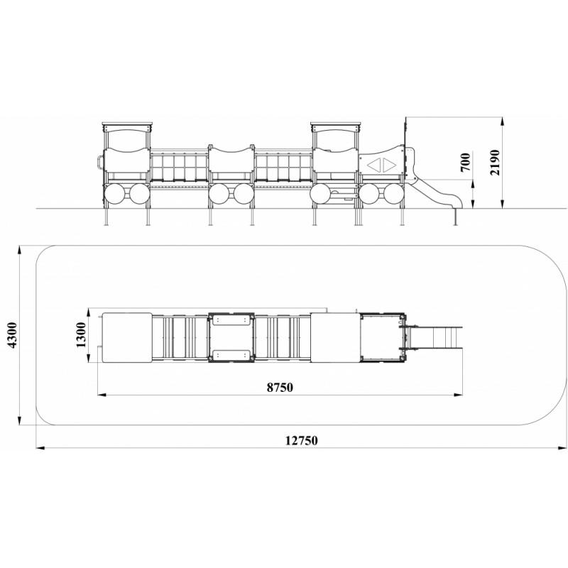 МФ 4.042 Паровоз с вагонами