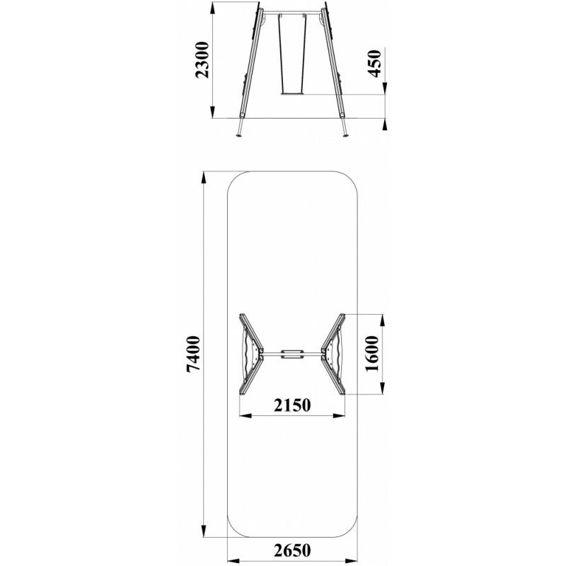 ДИО 1.08 Деревянные качели малые (подвес в комплект не входит)