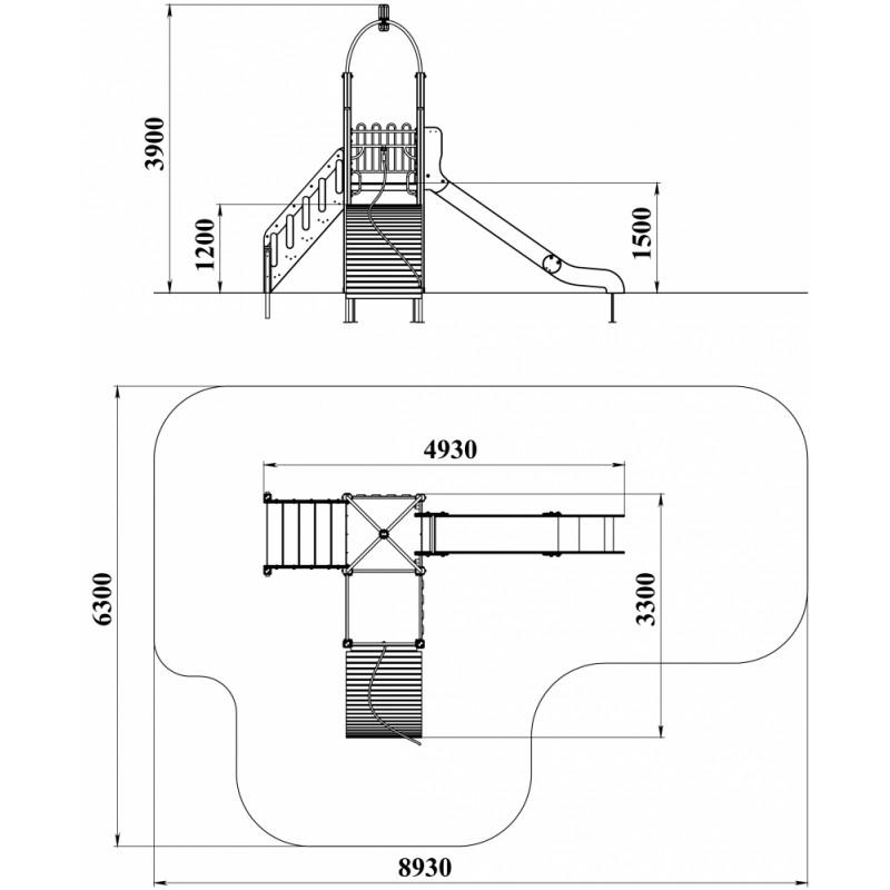 ДИК 1.225 Детский игровой комплекс Горка с трапом Н=1500