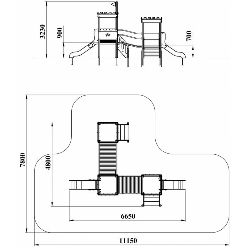 ДИК 3.175 Детский игровой комплекс Застава Н=900, Н=700