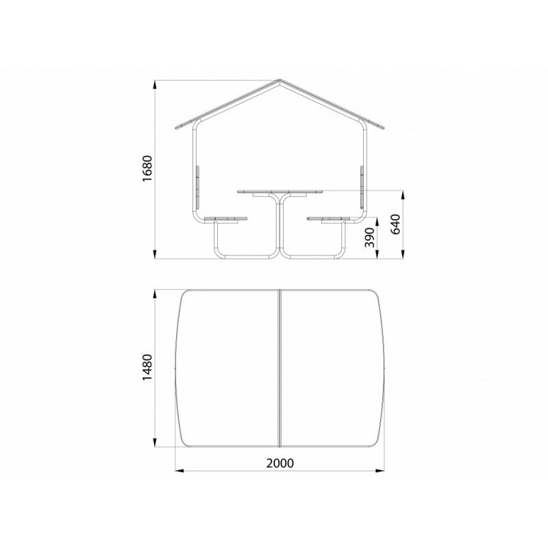 МФ 2.031-15 Столик со скамейками и навесом