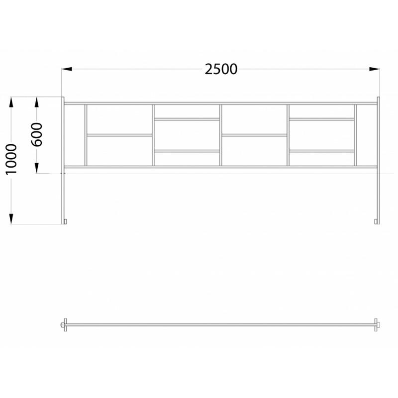 МФ 7.084 Ограждение металлическое прямое 2,5 м. в сборе