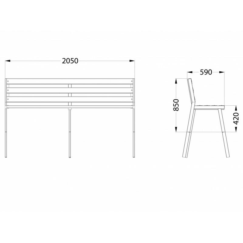 МФ 1.40 Лавочка Бизнес мини (деревянный брус)