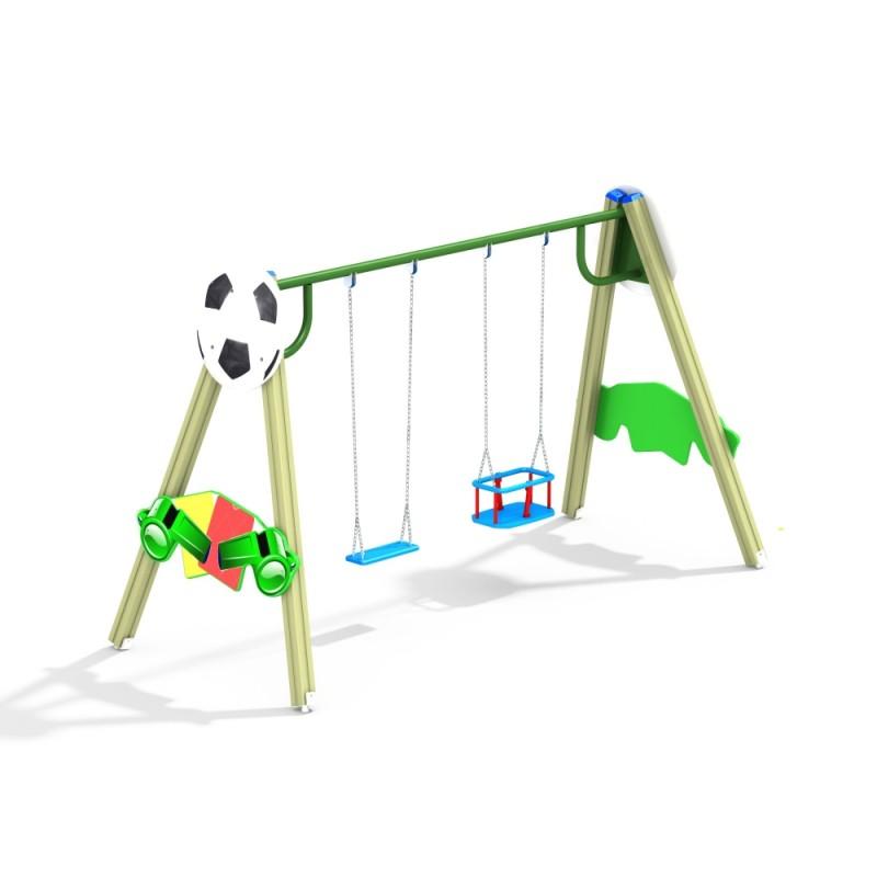 ДИО 1.102 Деревянные качели двойные Футбол (подвесы в комплект не входит)