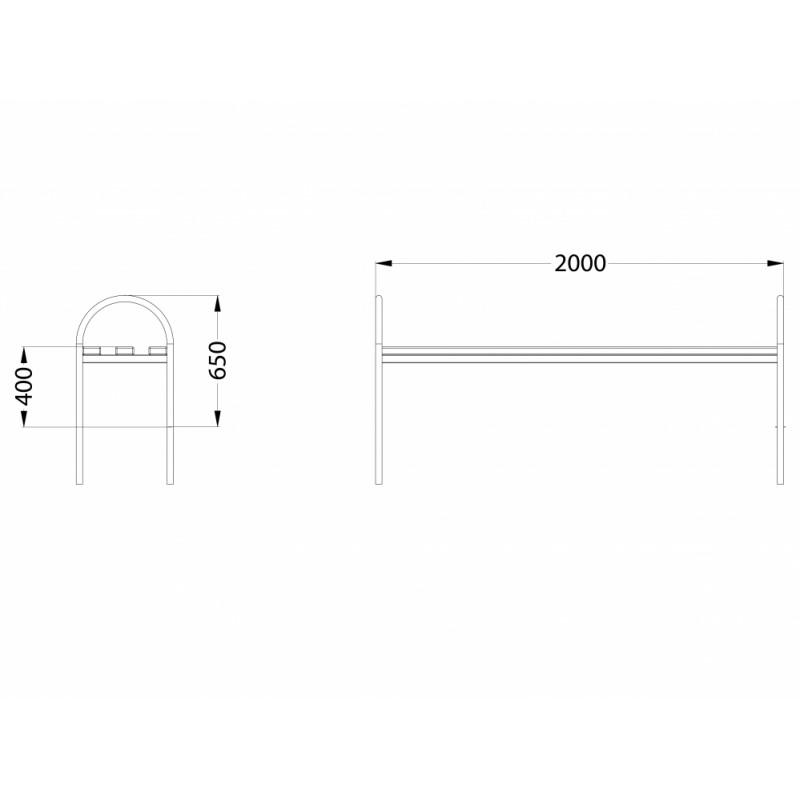 МФ 1.08 Лавочка без спинки разборная 2 метра