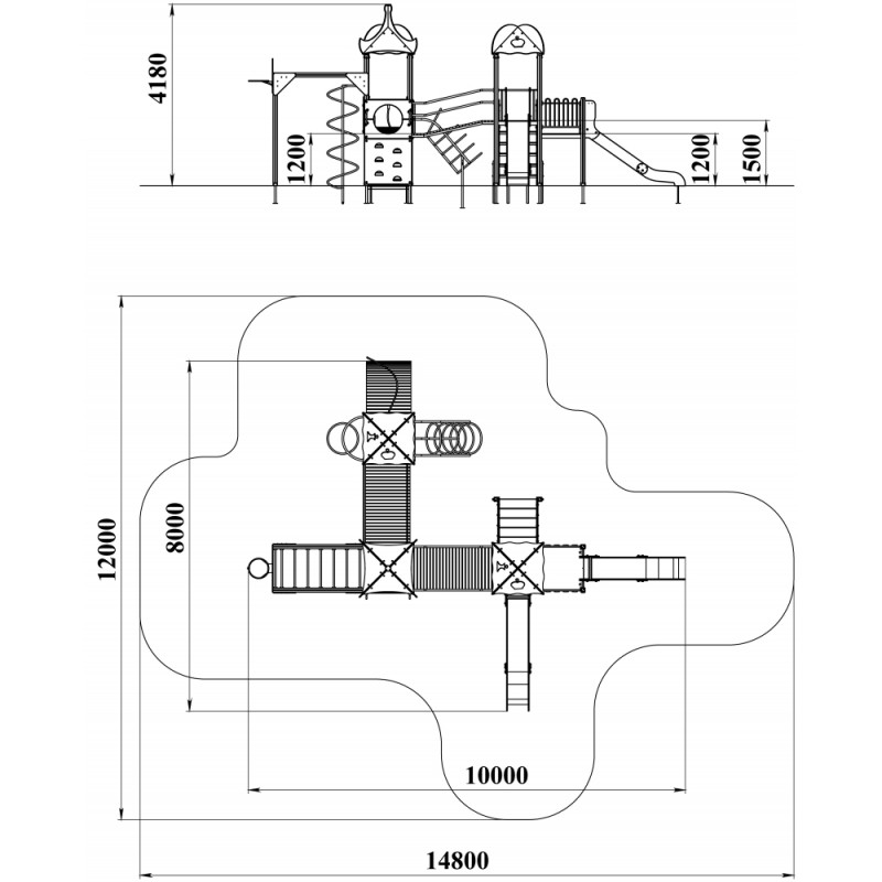 ДИК 3.168 Детский игровой комплекс Топотушки со щитом Граффити Н=1500