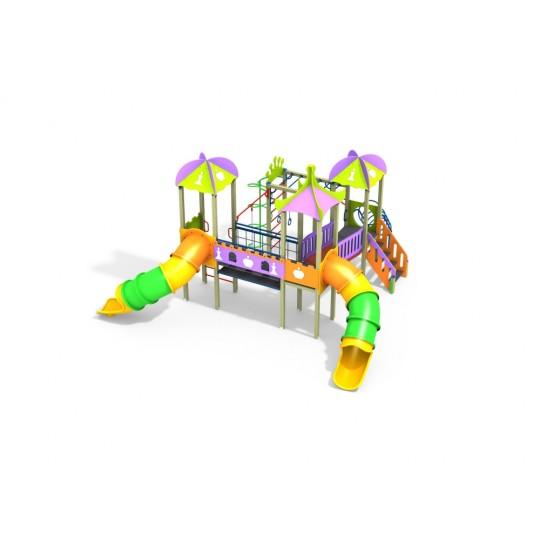 ДИК 3.216-К16 Детский игровой комплекс Шахматы с двумя пластиковыми горками Н=1500