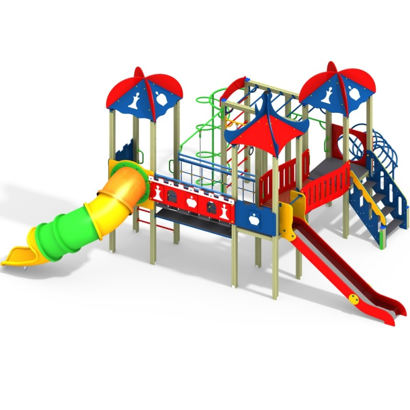 ДИК 3.217-К15 Детский игровой комплекс Шахматы с пластиковой горкой Н=1500
