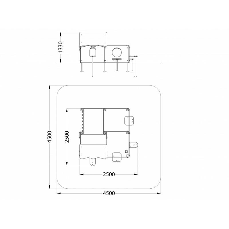 МФ 5.163 Лабиринт 4 секции Граффити
