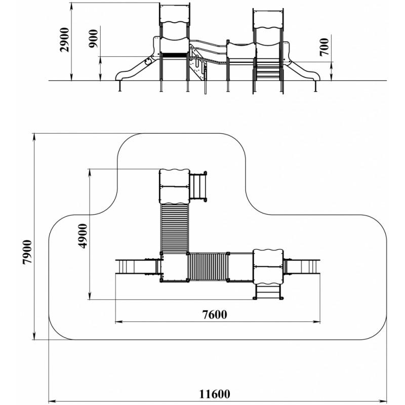 ДИК 3.17 Детский игровой комплекс Мостики Н=900, Н=700