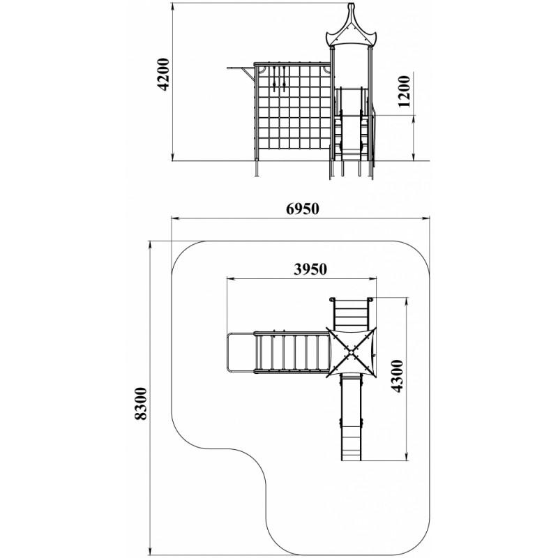 ДИК 1.03 Детский игровой комплекс Паутинка Н=1200