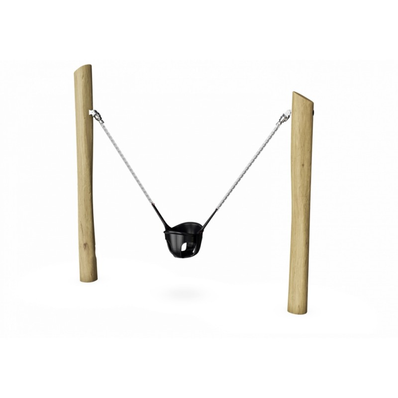 ДП 5.17 Одноместные качели люлька из бревен