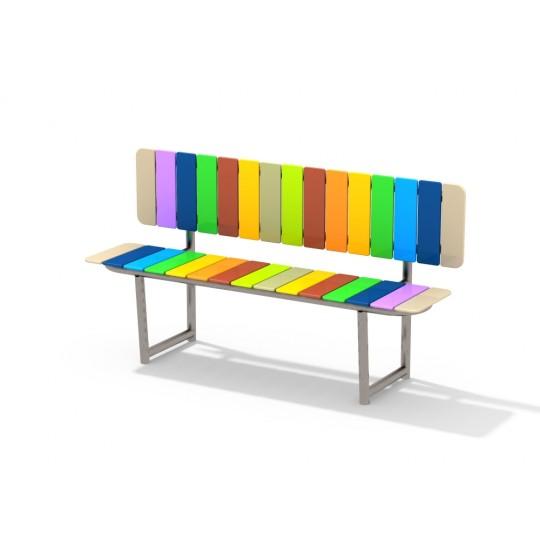 МФ 1.710.01 Скамейка радуга со спинкой нерж
