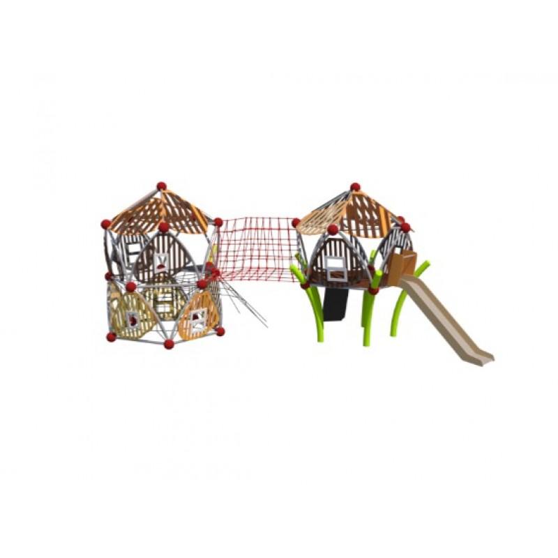 УК 7.423.11 Два пятиугольных домика с горкой и мостом цинк