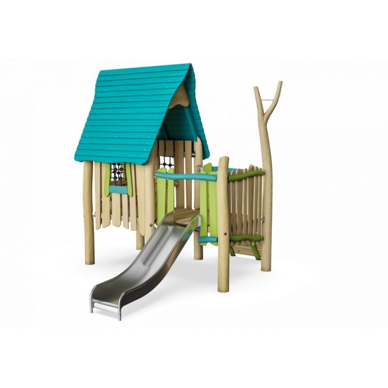 МФ 8.702.01 Домик из дерева с волнообразной крышей и горкой