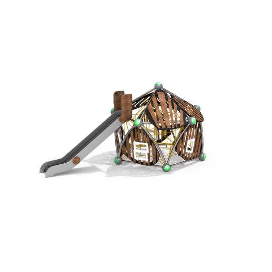 УК 7.420.11 Пятиугольный домик с горкой и сеткой цинк