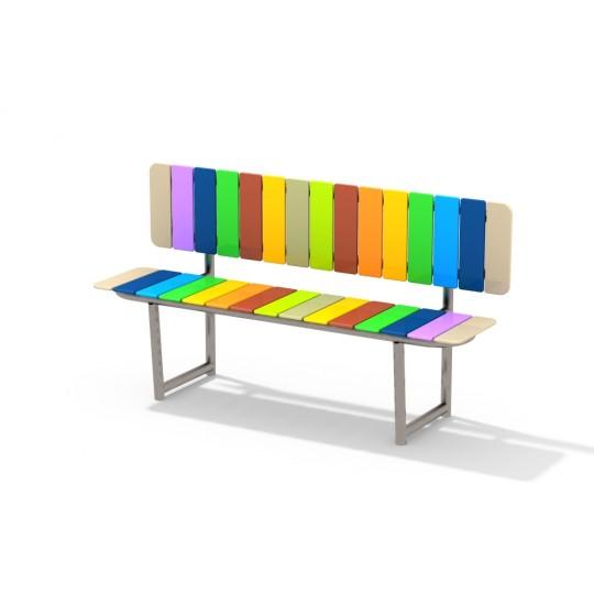 МФ 1.710.11 Скамейка радуга со спинкой цинк