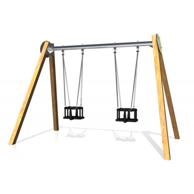 ДИО 1.502.11 Рама качели на деревянных столбах с оцинкованной балкой двойные ТИК